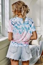 Strick-Tie-Dye-Brusttaschen-T-Shirt mit Manschettenärmeln