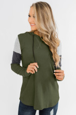 Màu xanh lá cây khối chắp vá dài tay áo hoodie