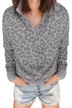 Graues Leoparden-Sweatshirt mit Reißverschluss