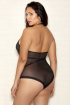 Plus Size Lace Backless Halfter Teddy