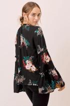 Černý květinový zvonový rukáv