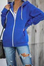 Modrá bunda s kapucí na zip