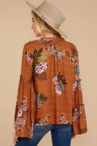 Oranžový květinový zvonový rukáv