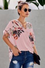Pink Floral Twist Top
