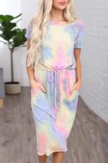 Gul Tie-dye bomull T-shirt klänning