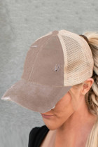 Khaki Multi Level Crisscross Pony Cap