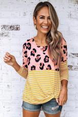 Žlutý dlouhý rukáv Leopard Stripe Print Casual Top