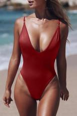 Červené V Neck jednodílné plavky