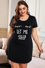 Plus Ukuran LET ME SLEEP Print Grafis Mini Dress Pakaian Tidur Hitam