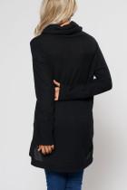 Áo len cao cổ màu đen phía trước Slit High Low Hem Sweater