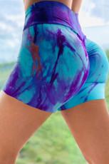 Himmelblå slips-dye Print Booty Yoga shorts