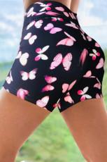 Розовые шорты для йоги с принтом бабочки