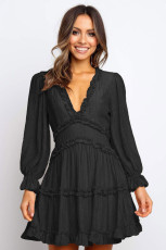 Black V Neck Ruffle Detailing Buka Kembali Dress