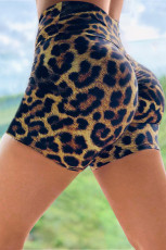 Booty Yoga Shorts mit Leopardenmuster