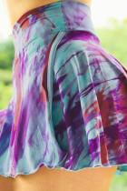 보라색 이층 넥타이 염색 높은 허리 스포츠 스커트 반바지