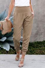 Khaki kapesní ležérní běžecké kalhoty