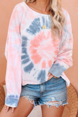 Pink Tie Dye Pullover Long Sleeve Top