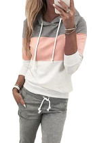 Pink Drawstring Design Colorblock Hooded Top & Pant Set