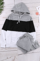 Black Drawstring Design Colorblock Hooded Top & Pant Set