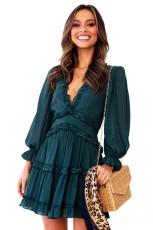 Zelené V krku volán podrobně otevřené zadní šaty