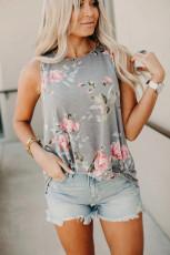 Floral Print Grey Tank Top
