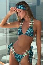 Vihreä Leopard Diamond Bikini