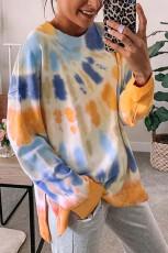 Orange Tie-dye Side Slit Pullover Sweatshirt