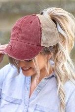 قبعة بيسبول شبكية من نسيج قطني طويل مغسول باللون الأحمر