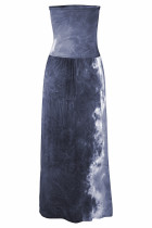 Gray Bohemian Bandeau Maxi Dress