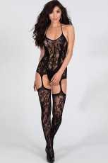 Transparante bloemen halter backless bodystocking
