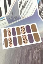 Brown Leopard Sticker Nail Fake Printed