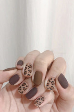 Αυτοκόλλητο Fake Nail με καφέ Leopard