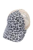 Серая кепка с леопардовым принтом