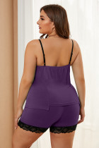 Set de pijamale Purple Plus Size cu decupaj din dantelă