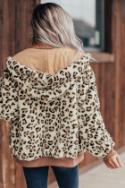 Khaki Cozy Plush Leopard Jacket