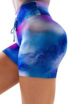 Sky Blue High Waist Tie-dye Εκτύπωση αθλητικών σορτς
