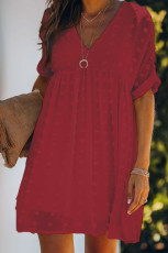 Fever Red Fitch Pom Pyd Babydoll Tunic Dress