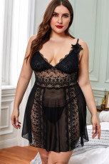 Blok Warna Hitam Hollow-out Lace Gauze Patchwork Plus Size Babydoll