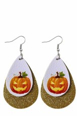 Halloween Pumpkin Print Sequins Double Earrings