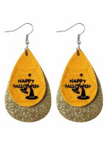 Yellow Halloween Wizard Hat &Letter Sequins Double Earrings