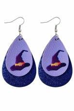 Purple Halloween Wizard Hat Sequins Double Earrings