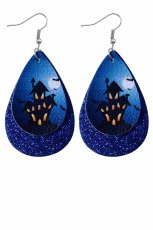 Dark Blue Halloween Haunted House Print Sequins Double Earrings