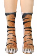 Brown Tiger Foot Hoof Print Christmas Socks