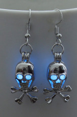 Blue Halloween Skull Gleam Earings
