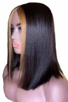 Короткий прямой парик с разрезом по центру