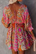 Разноцветное мини-платье с V-образным вырезом и рукавами 3/4 с богемным винтажным принтом