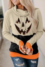 Svart Cowl Neck Pumpkin Print Color Block Halloween Sweatshirt