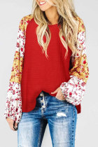 Red Mixed Print Balloon Sleeve Top
