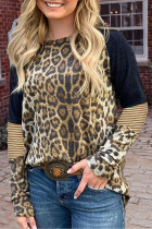 Luipaard gestreept T-shirt met lange mouwen