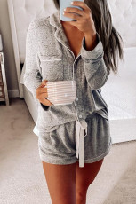 Loungewear grigio con coulisse a maniche lunghe